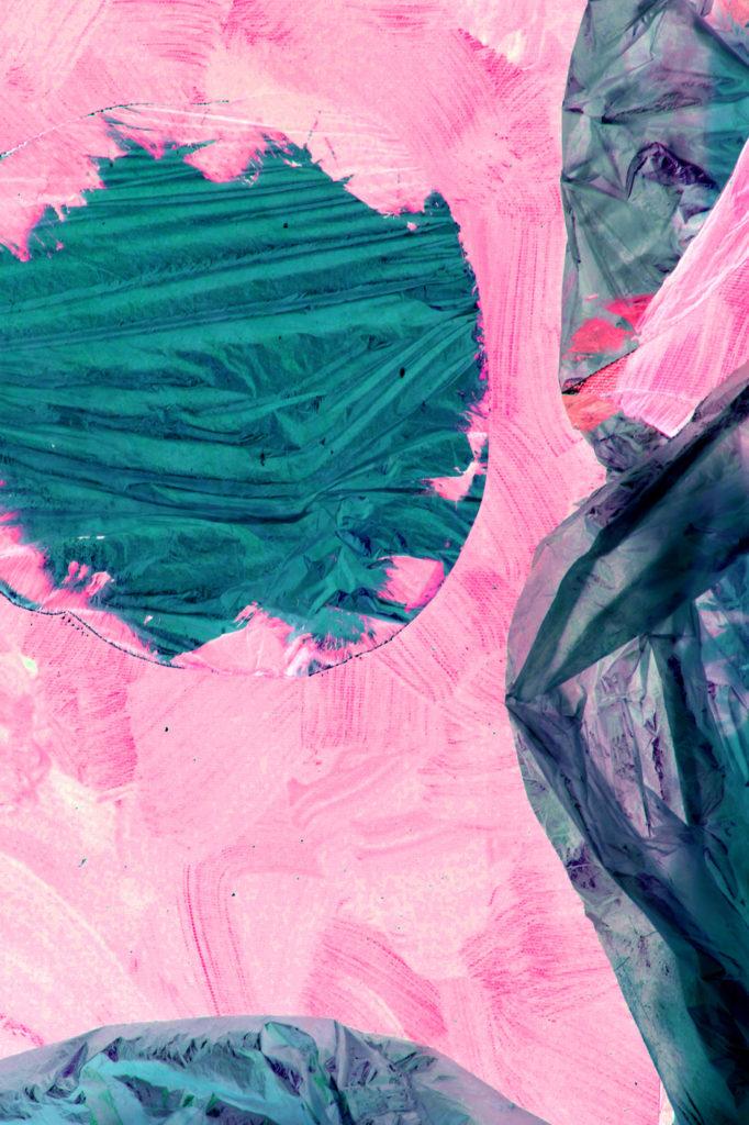 plastique et toile rose et verte